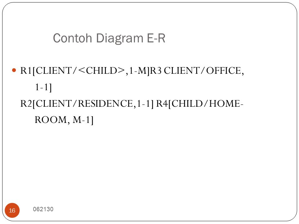 Contoh Diagram E-R R1[CLIENT/<CHILD>,1-M]R3 CLIENT/OFFICE, 1-1]